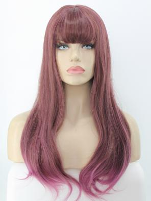 Rouge Mix Purple with Bangs Straight Waist Length Synthetic Wig
