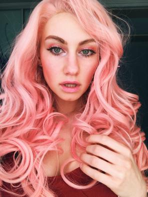 Cute Pinky Long Wavy Synthetic Lace Front Wig