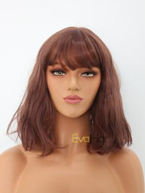 Cute Reddish Brown Shoulder Length Wavy Bob Synthetic Wig with Bangs