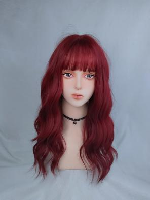 Evahair Red Long Wavy Synthetic Wig with Bangs