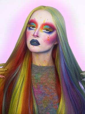 Rainbow color Long Straight SYNTHETIC LACE FRONT WIG