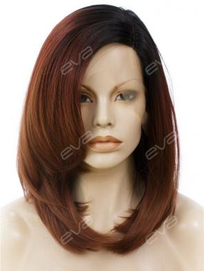 Dark Brown Straight Layered Cut Synthetic Lace Front Wig
