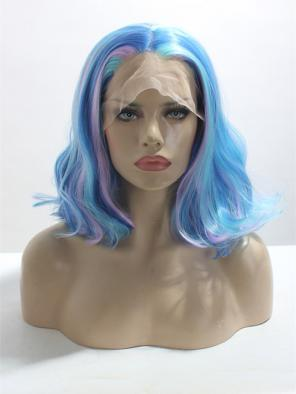 BEAUTIFUL PASTEL MIXED COLOR WAVY BOB WAVY SYNTHETIC LACE FRONT WIG