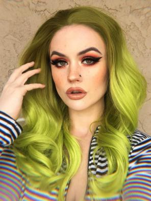 LIGHT GREEN COLOR SYNTHETIC LACE FRONT WIG