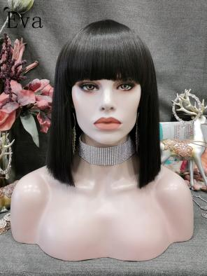Evahair Black Shoulder Length Bob Synthetic Wigs With Full Bangs