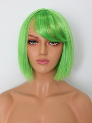 Capless Green Short Bob Cut Synthetic Wig with Bangs