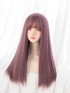Evahair Fuchsia Long Straight Synthetic Wig with Bangs