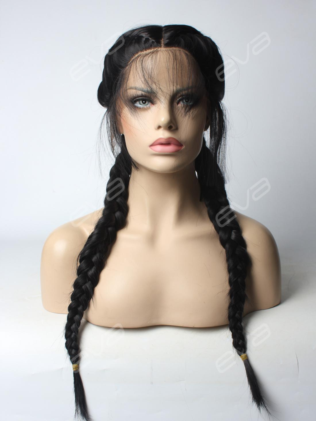 French Braid Black Synthetic Lace Front Wig All