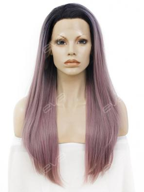 Grayish Pastel Pink Long Straight Synthetic Lace Front Wig