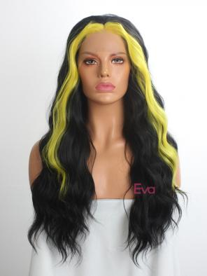 Evahair Black and Fore Yellow Long Wavy Synthetic Lace Front Wig