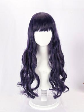 Evahair Grayish Purple Long Wavy Synthetic Wig with Bangs
