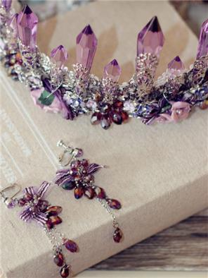 Baroque Purple Crystal Crown with Two Earrings