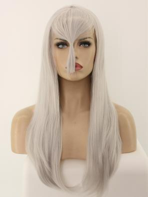 EvaHair Pure Grey with Bangs Affordable Wefed Cap Synthetic Wig