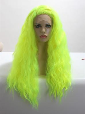 GLITTERY GREEN WITH SLIGHT WAVY STYLE SYNTHETIC LACE FRONT WIG