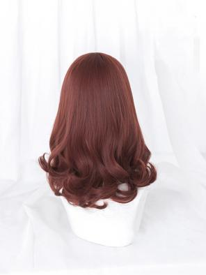 Evahair Red Medium Length Wavy Synthetic Wig with Bangs