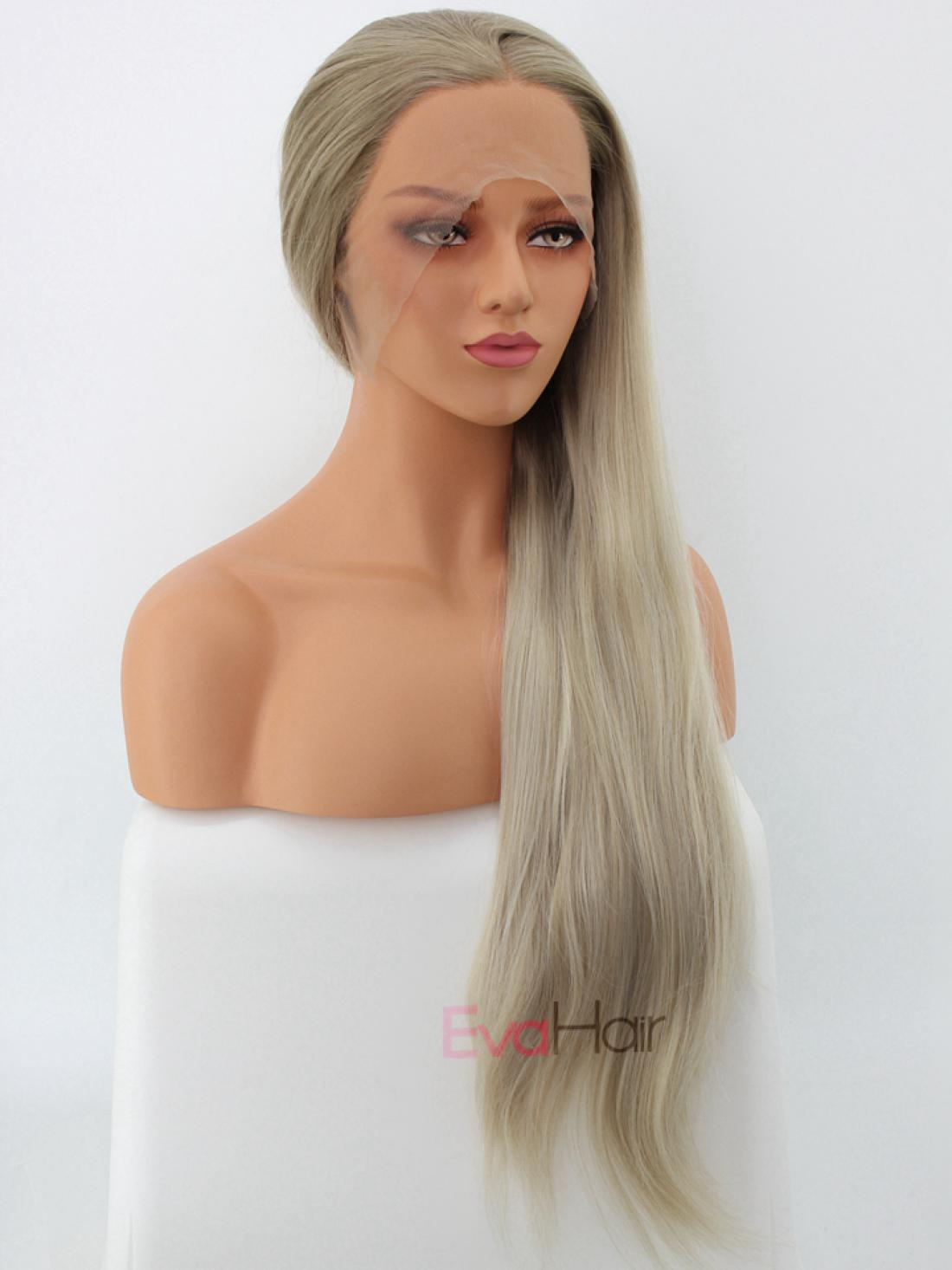 Long Natural Blonde Synthetic Lace Front Wig All