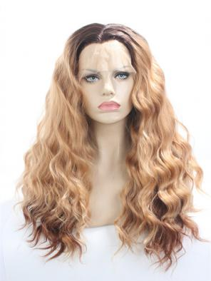 Ash Brown Ombre With Water Wavy SYNTHETIC LACE FRONT WIG