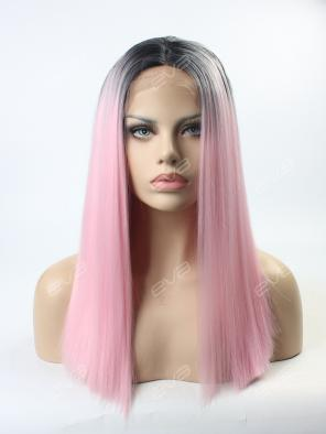 Pink T-color Medium Length Straight Synthetic Lace Front Wig