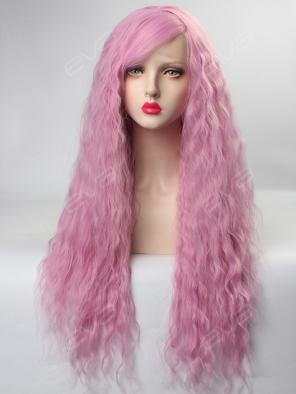 EvaHair New Long Slight Wavy Fading Rose Color Lolita Synthetic Lace Front Wig