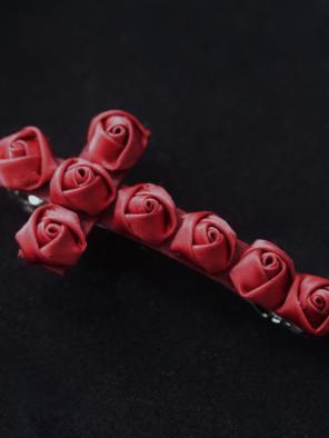 Evahair Limited Gothic Red Rose Cross Hairpin