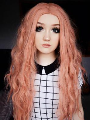 Lovely Peach with Slight Wavy Style Synthetic Lace Front Wig