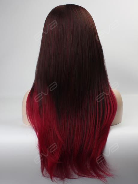 Brown To Red Ombre Color High Quality Synthetic Lace Front