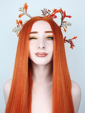 Limited- Super Long Dark Orange Reddish Brown Straight Synthetic Lace Front Wig