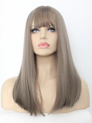 EvaHair Ash Light Brown Synthetic Wig With Fringes