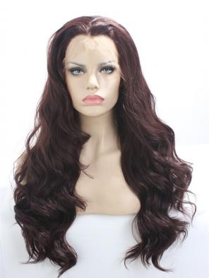 Warm Burgundy for Layered WAVY SYNTHETIC LACE FRONT WIG