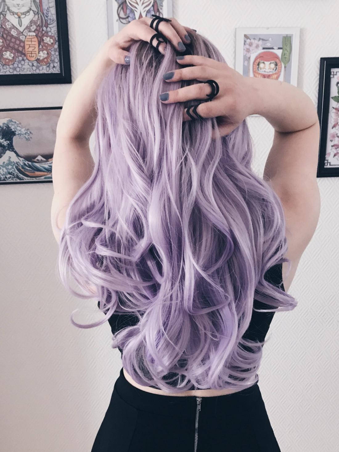 Grey Lavender Lace Front Wig
