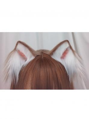 Evahair Cute Brown and White Furry Cat-Ears Hairpin