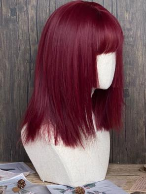 Evahair Red Wine Shoulder Length Straight Synthetic Wig with Bangs